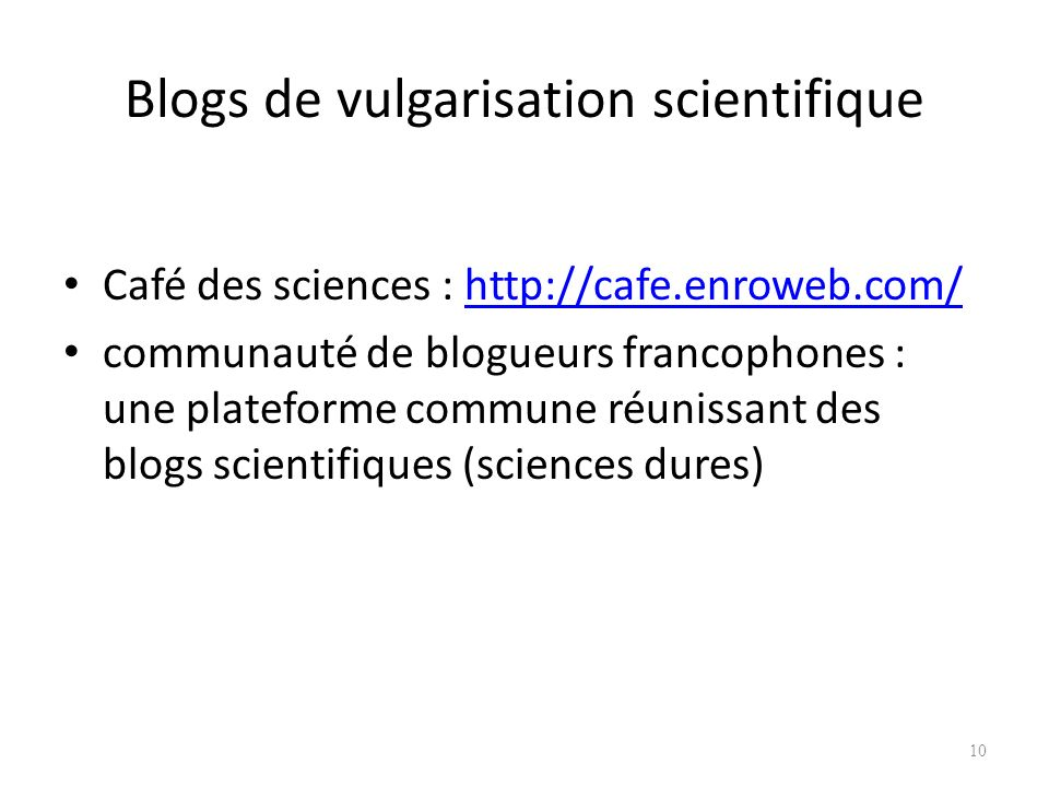 Blogs de vulgarisation scientifique