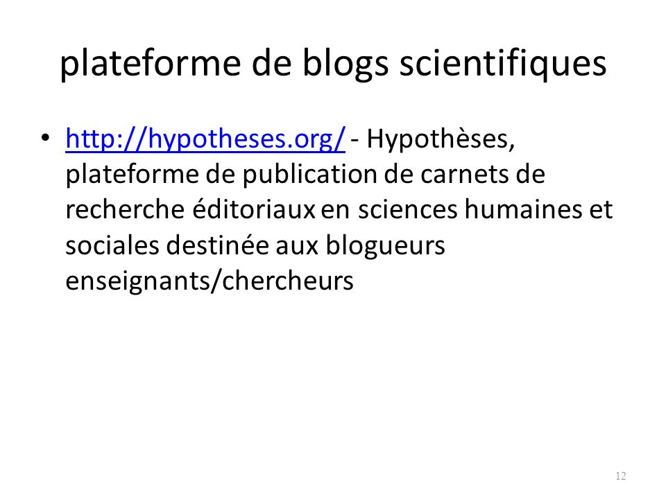 plateforme de blogs scientifiques