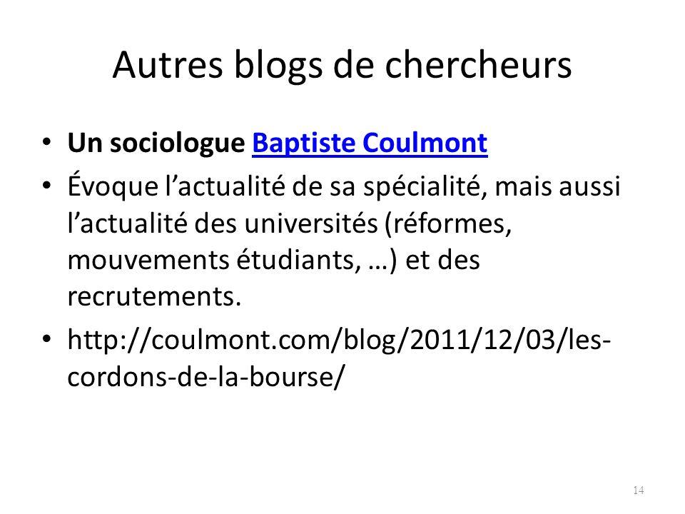 Autres blogs de chercheurs