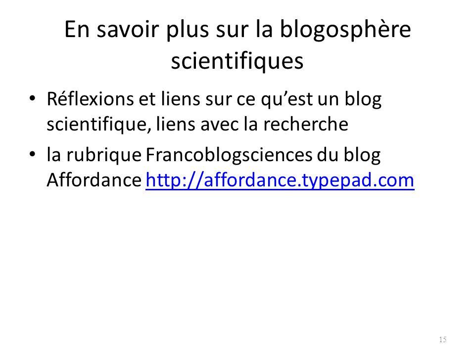 En savoir plus sur la blogosphère scientifiques