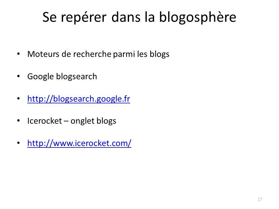 Se repérer dans la blogosphère