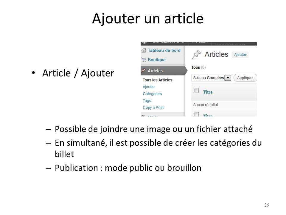 Ajouter un article Article / Ajouter