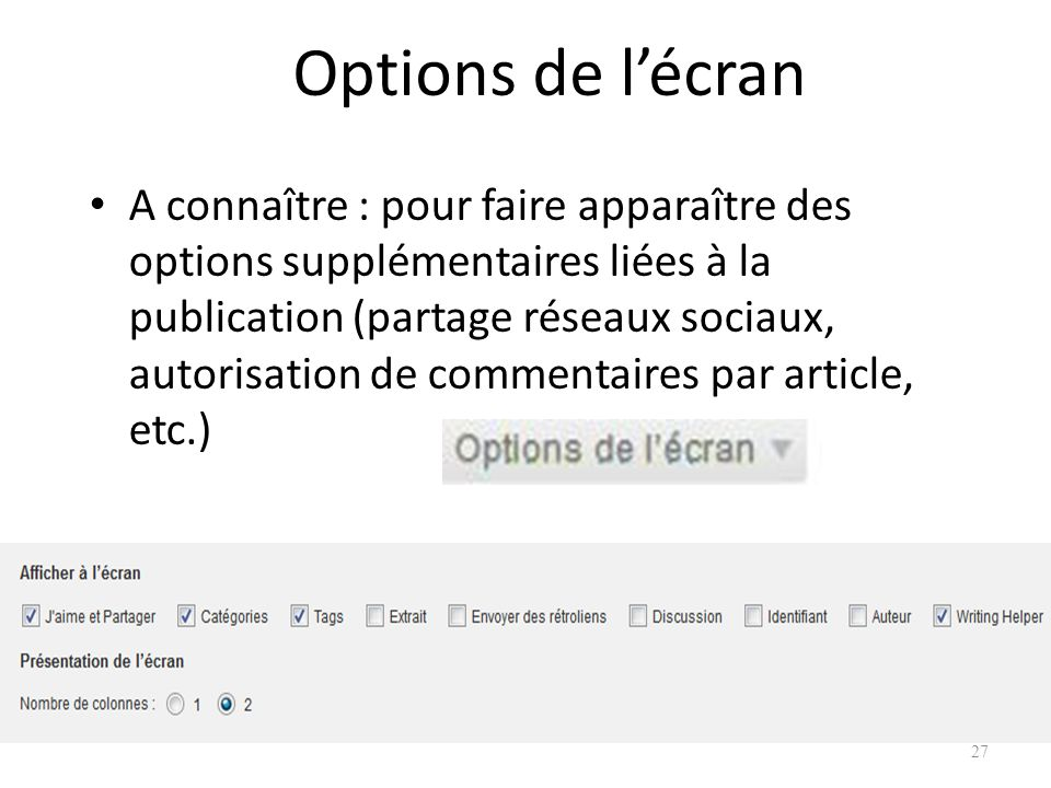 Options de l'écran