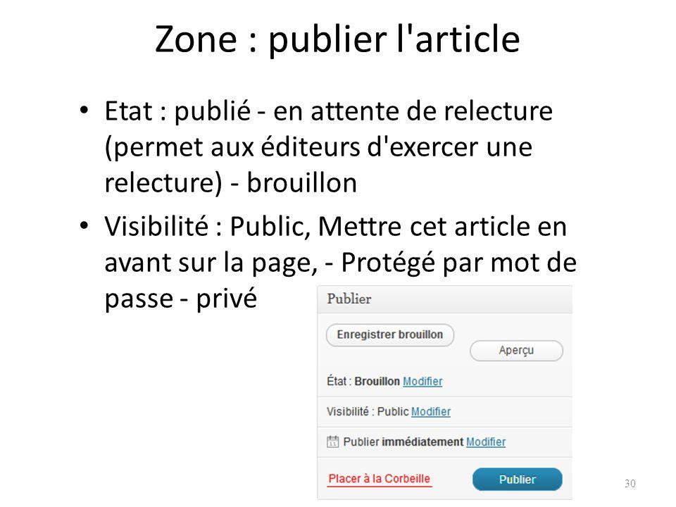 Zone : publier l article