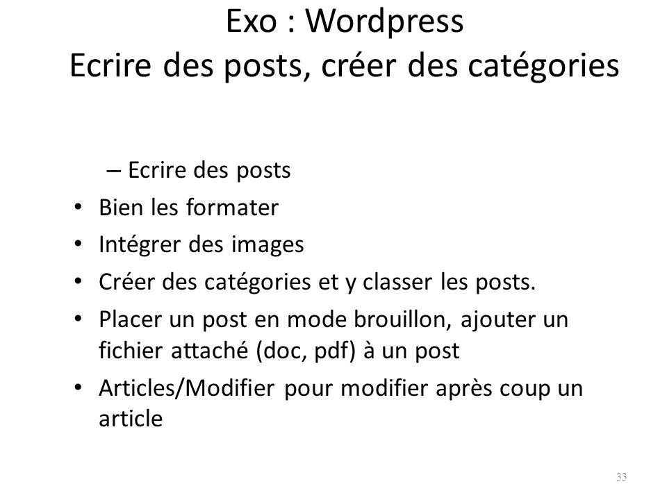 Exo : Wordpress Ecrire des posts, créer des catégories