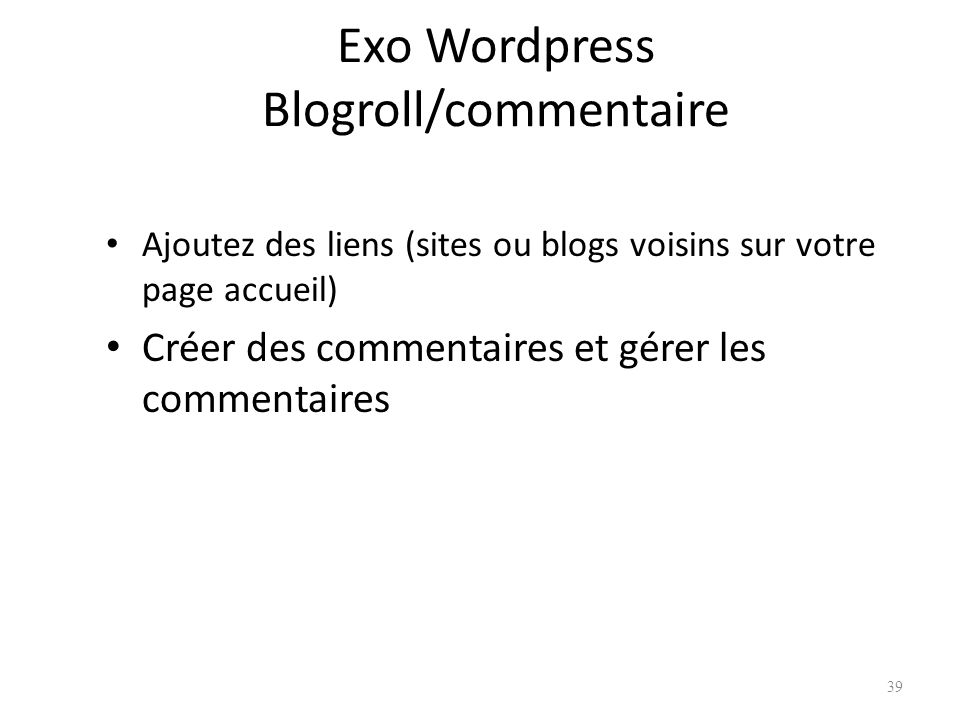 Exo Wordpress Blogroll/commentaire