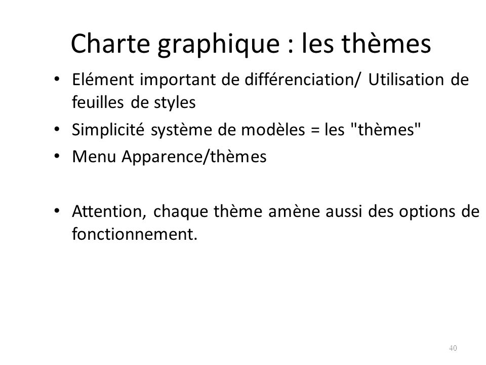 Charte graphique : les thèmes