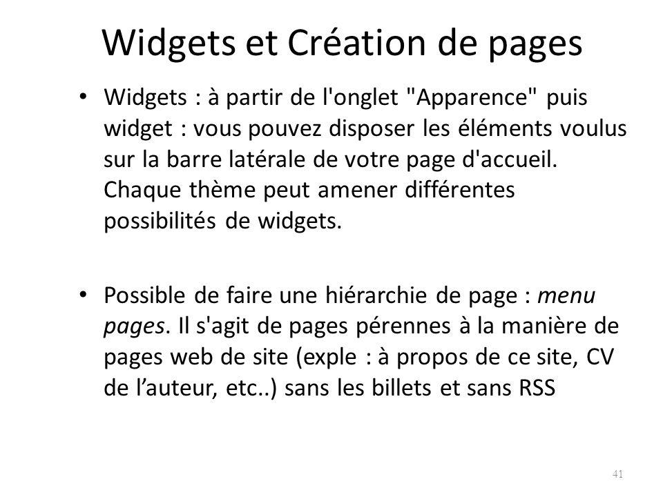Widgets et Création de pages