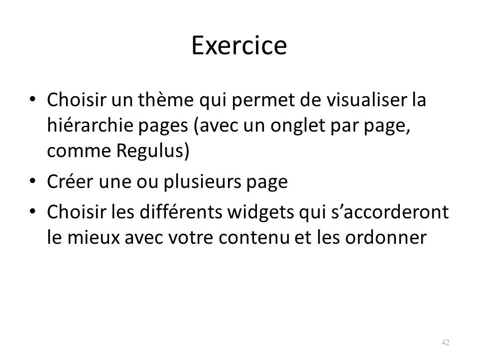 Exercice Choisir un thème qui permet de visualiser la hiérarchie pages (avec un onglet par page, comme Regulus)
