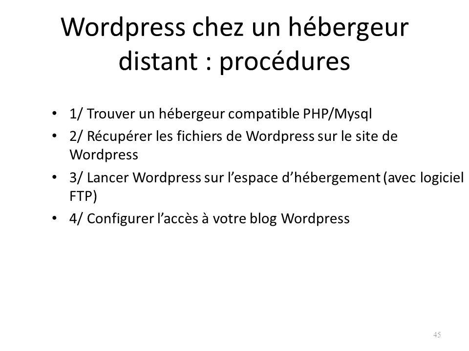 Wordpress chez un hébergeur distant : procédures