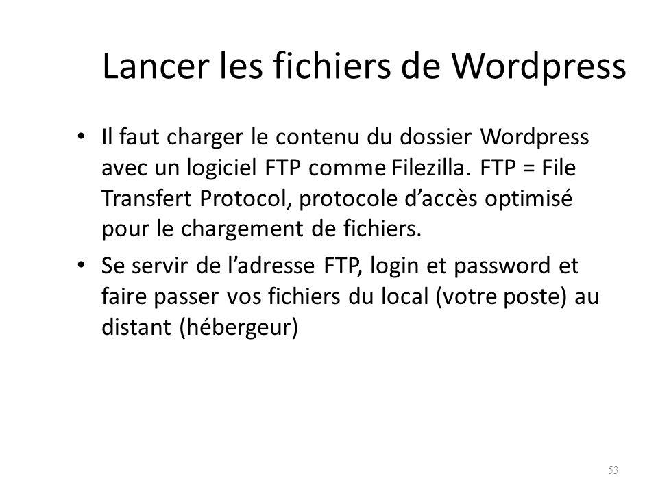 Lancer les fichiers de Wordpress