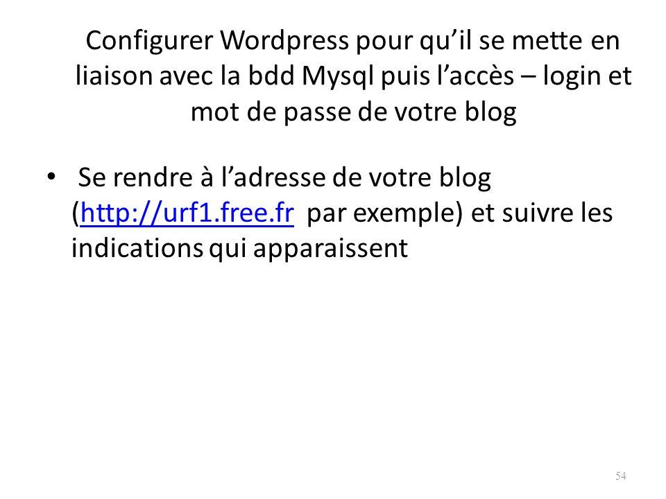 Configurer Wordpress pour qu'il se mette en liaison avec la bdd Mysql puis l'accès – login et mot de passe de votre blog