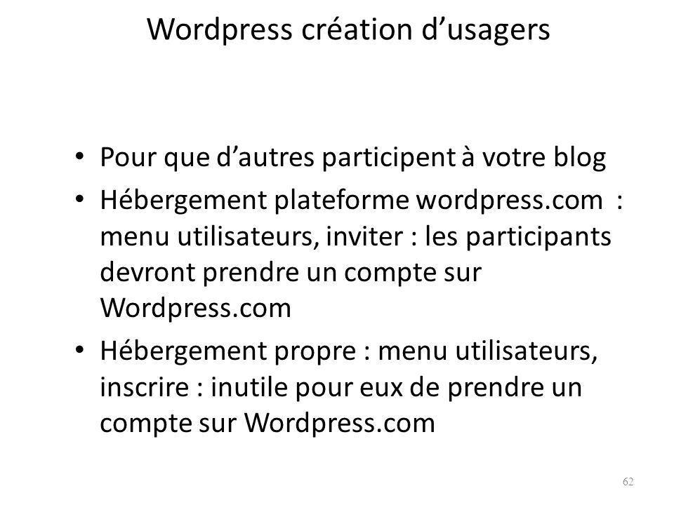 Wordpress création d'usagers