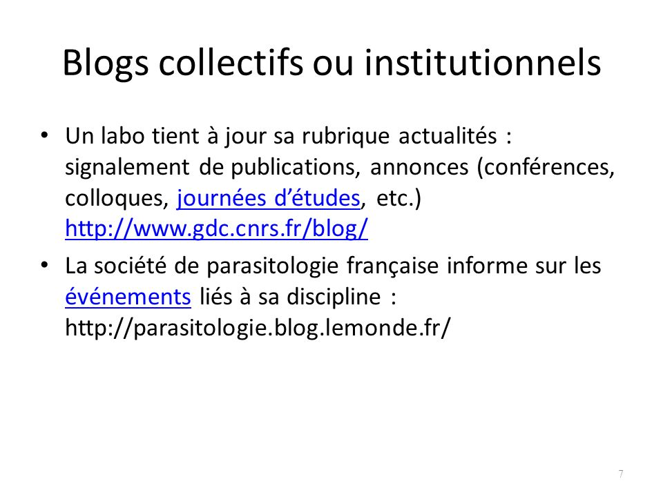 Blogs collectifs ou institutionnels