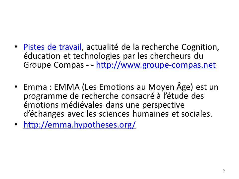 Pistes de travail, actualité de la recherche Cognition, éducation et technologies par les chercheurs du Groupe Compas - - http://www.groupe-compas.net