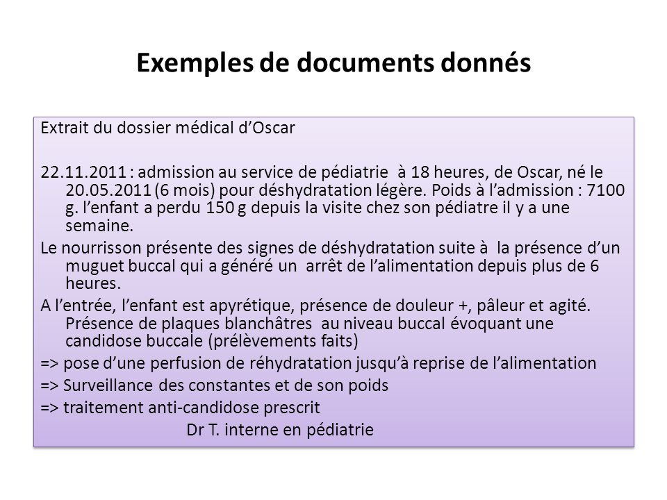 Exemples de documents donnés
