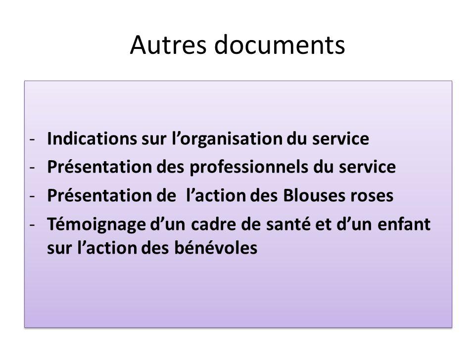 Autres documents - Indications sur l'organisation du service