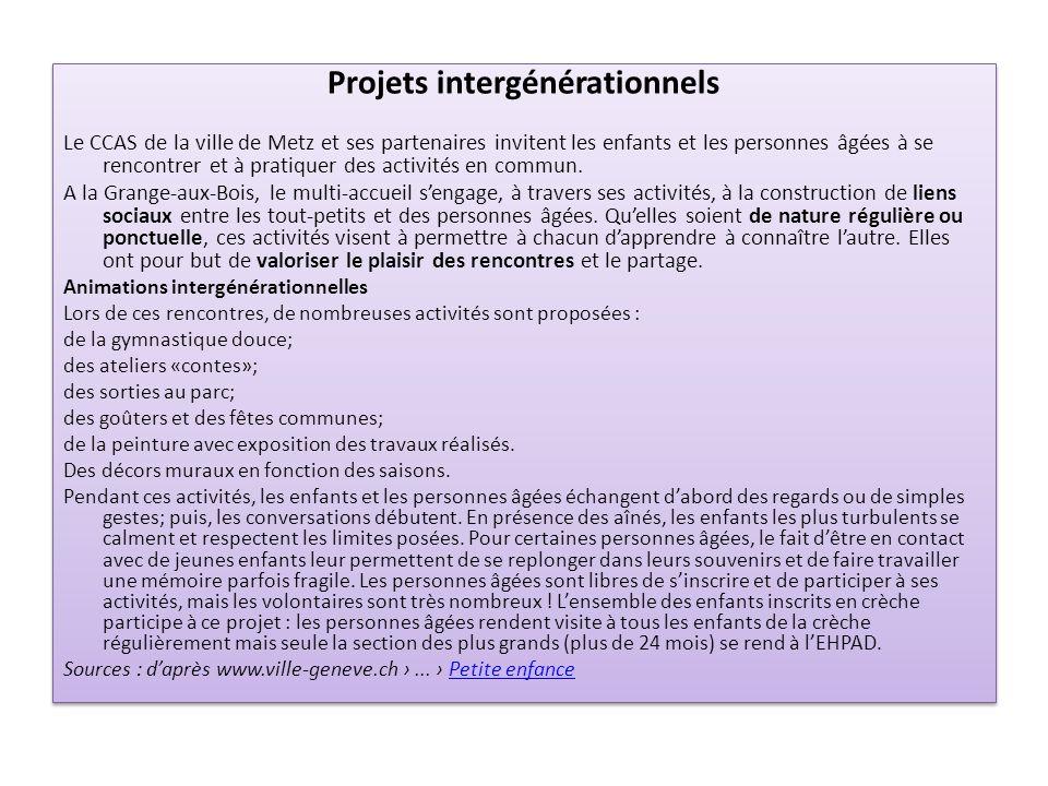 Projets intergénérationnels