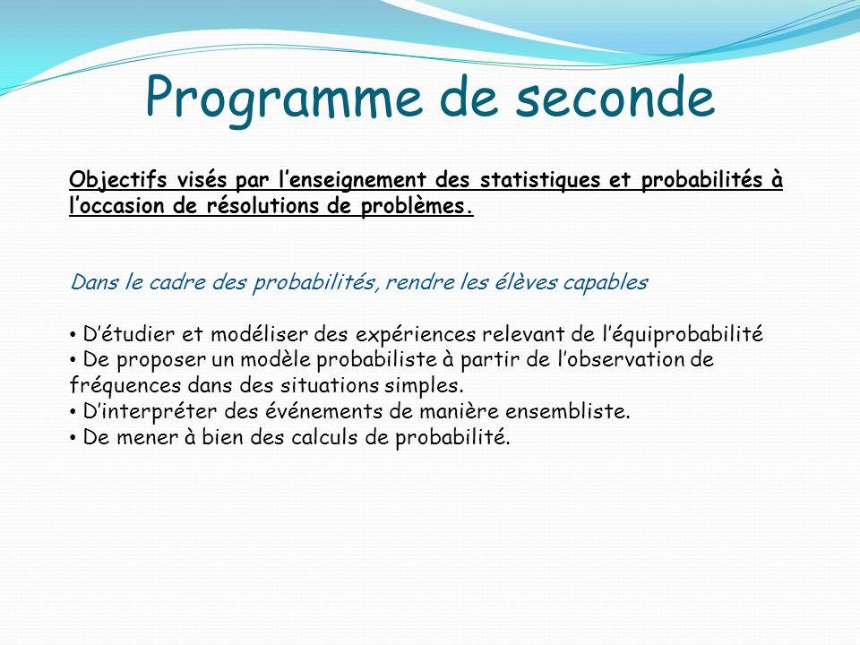 Programme de seconde Objectifs visés par l'enseignement des statistiques et probabilités à l'occasion de résolutions de problèmes.