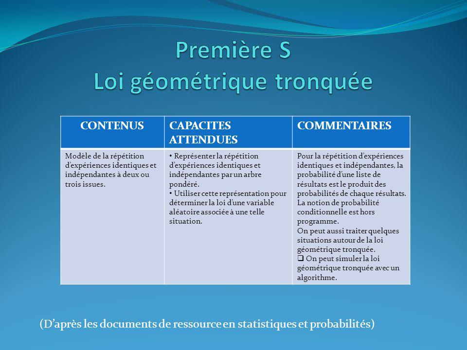 Première S Loi géométrique tronquée