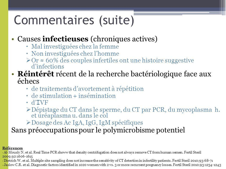 Commentaires (suite) Causes infectieuses (chroniques actives)