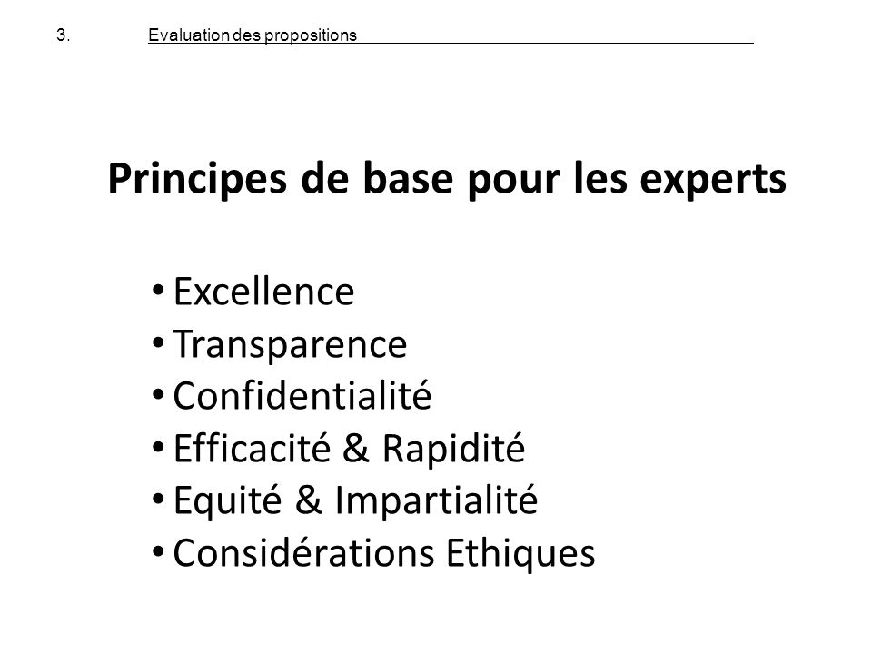 Principes de base pour les experts