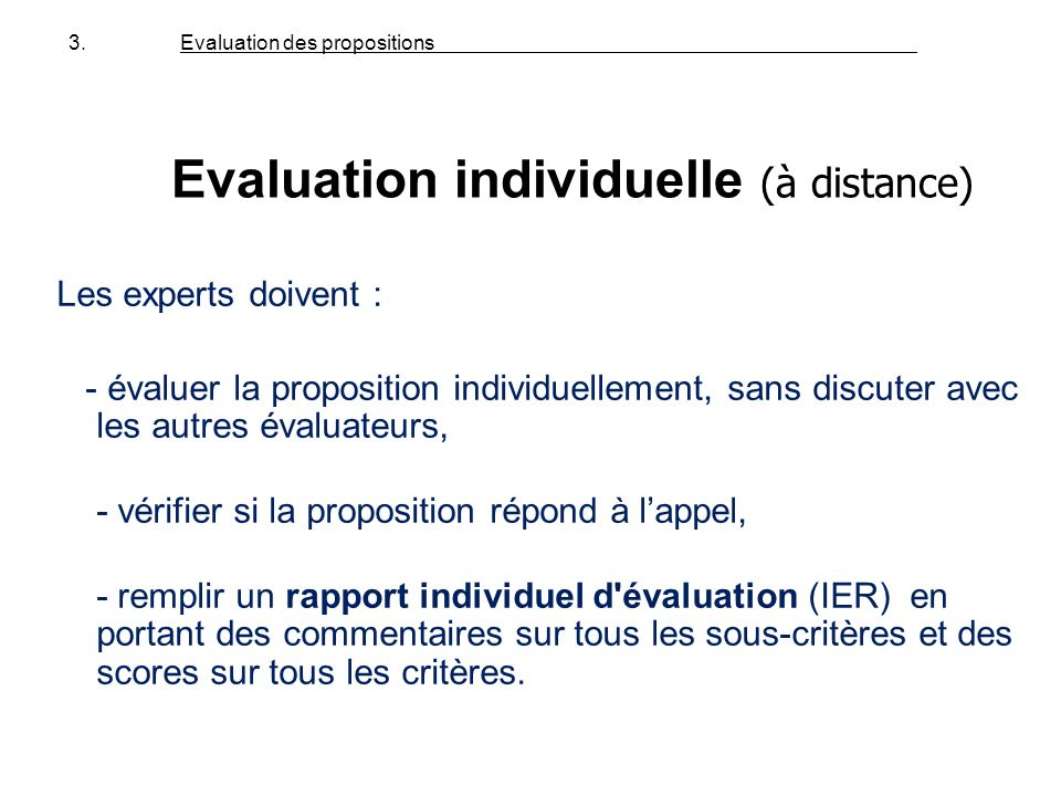 Evaluation individuelle (à distance)
