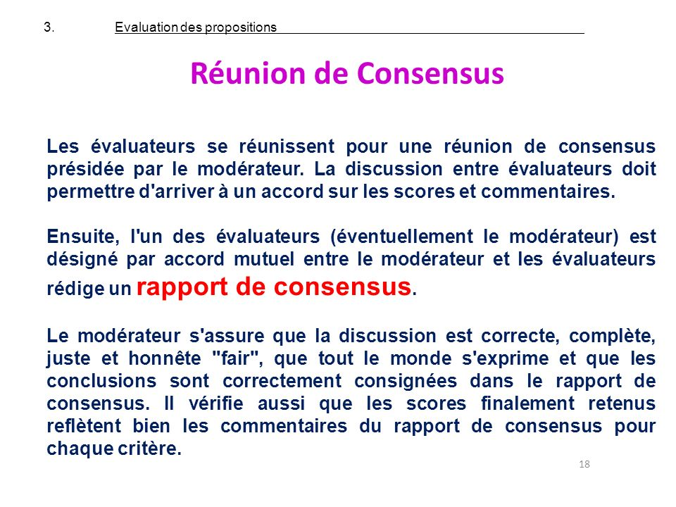 3. Evaluation des propositions