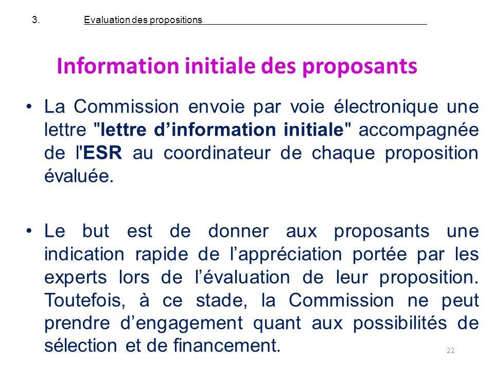 Information initiale des proposants