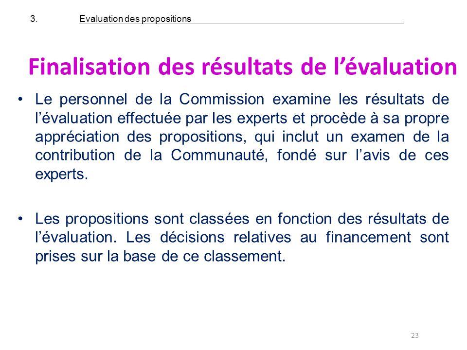 Finalisation des résultats de l'évaluation