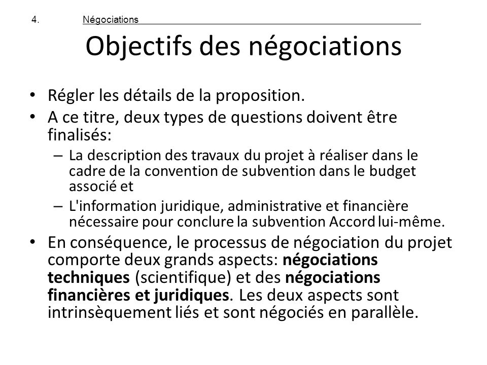 Objectifs des négociations