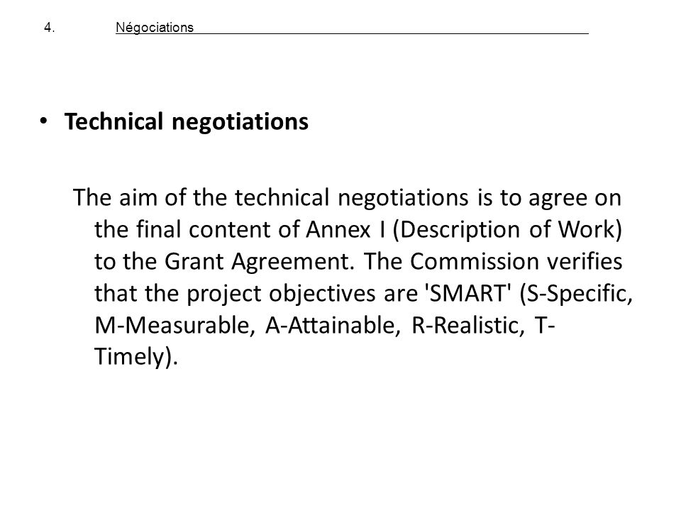 Technical negotiations