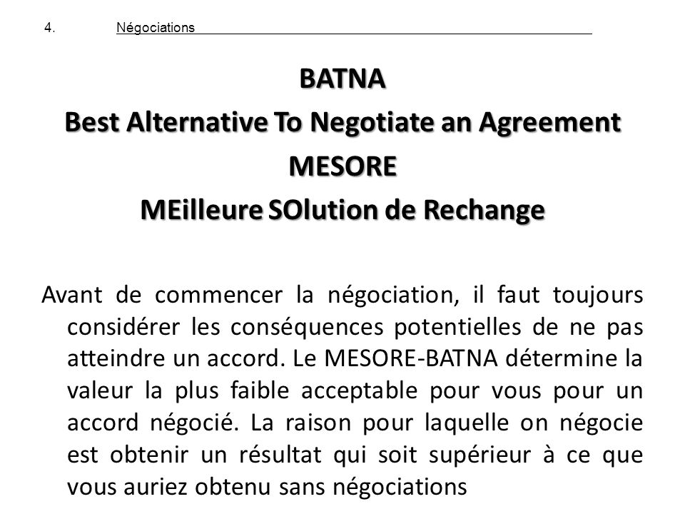 Best Alternative To Negotiate an Agreement MESORE