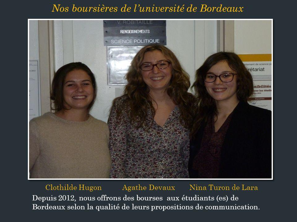 Nos boursières de l'université de Bordeaux