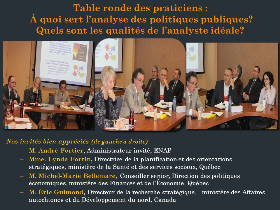 Table ronde des praticiens :
