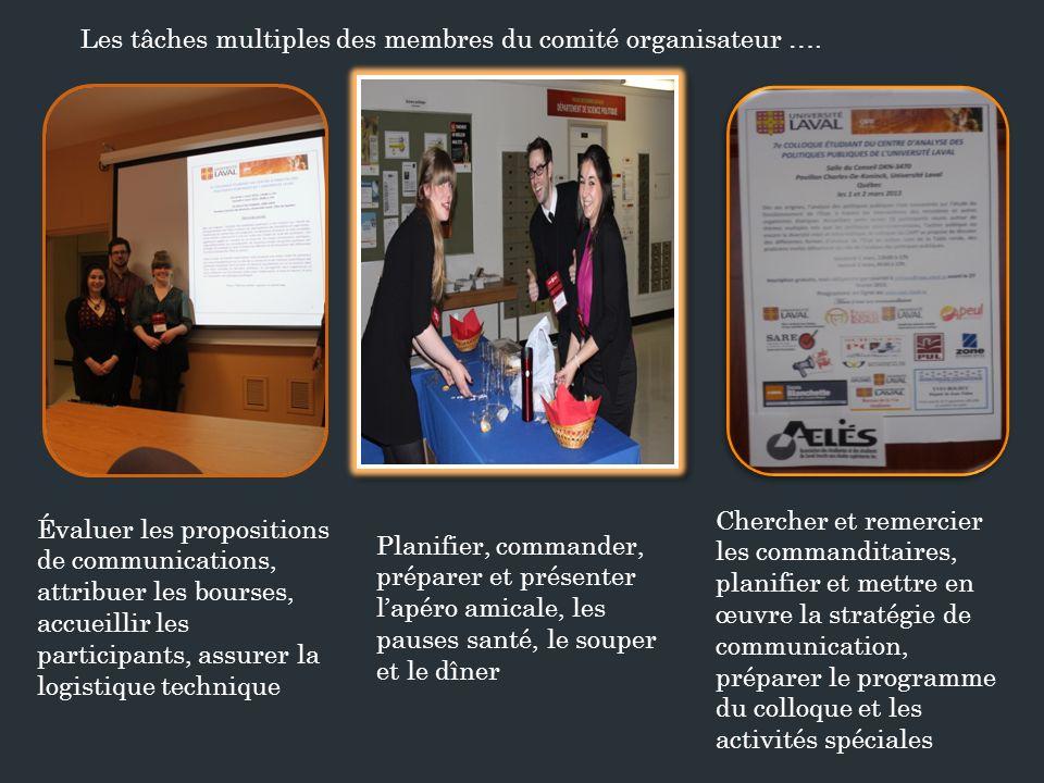 Les tâches multiples des membres du comité organisateur ….