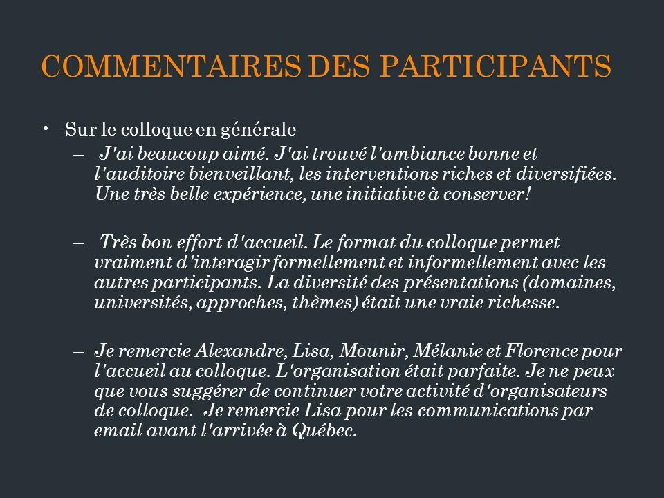 Commentaires des participants