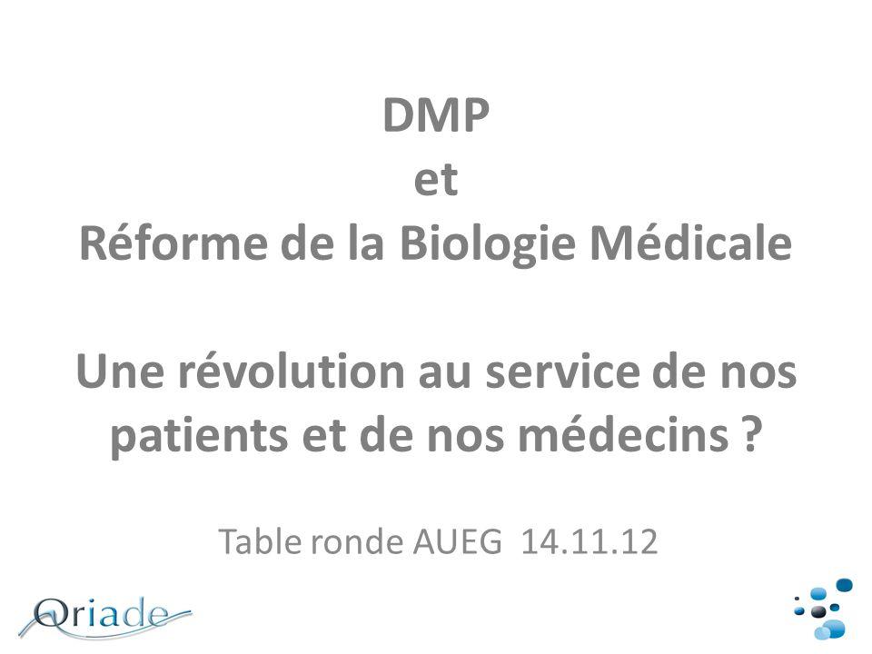 DMP et Réforme de la Biologie Médicale Une révolution au service de nos patients et de nos médecins
