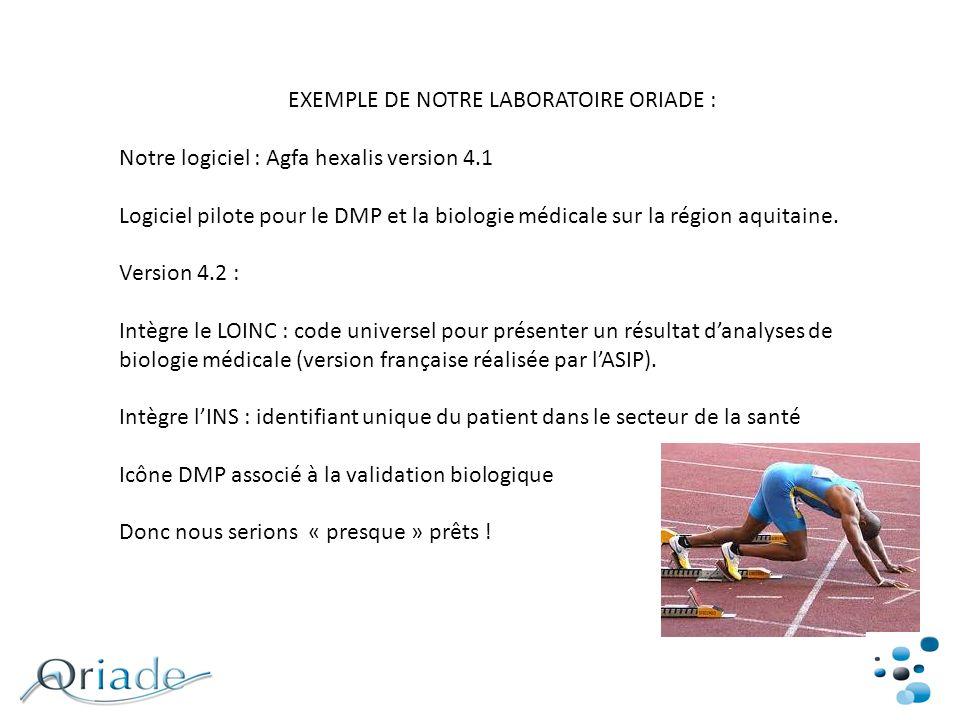 EXEMPLE DE NOTRE LABORATOIRE ORIADE :