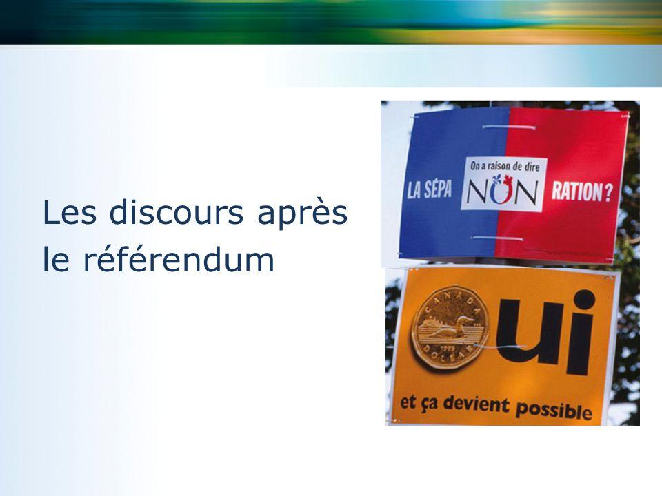 Les discours après le référendum