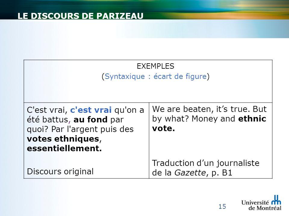 Le discours de parizeau