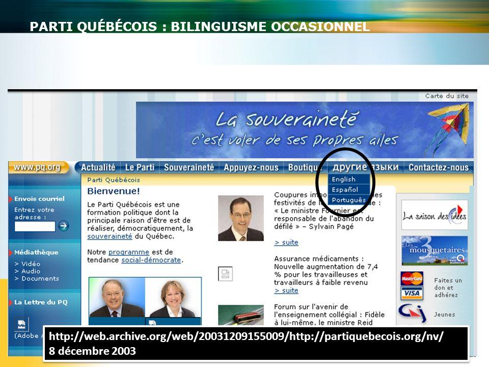 Parti québécois : bilinguisme occasionnel