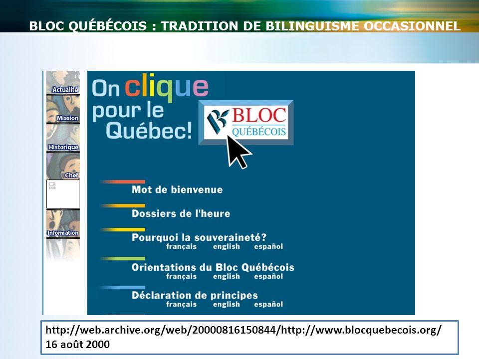Bloc québécois : tradition de bilinguisme occasionnel