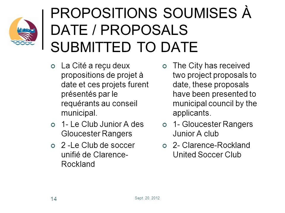 PROPOSITIONS SOUMISES À DATE / PROPOSALS SUBMITTED TO DATE