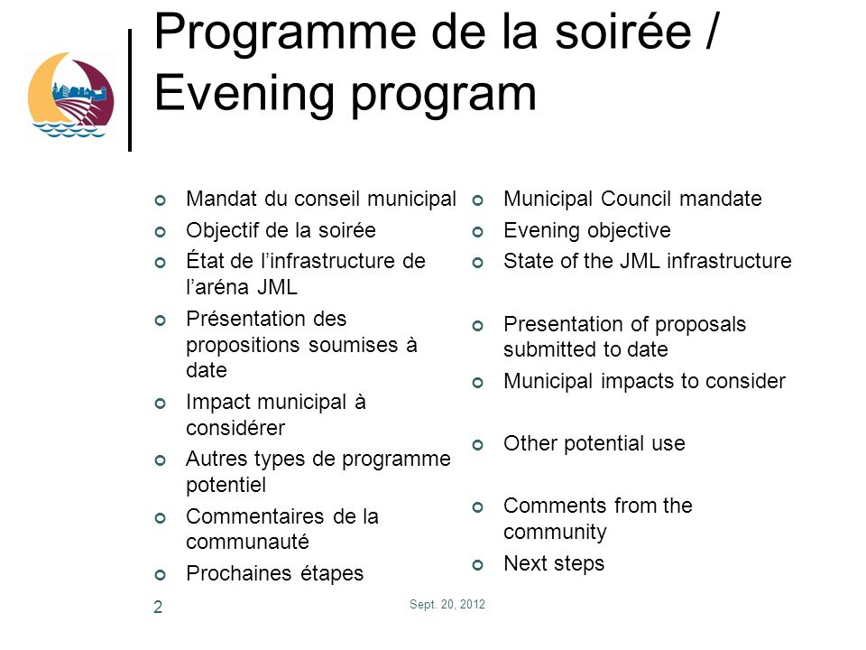 Programme de la soirée / Evening program