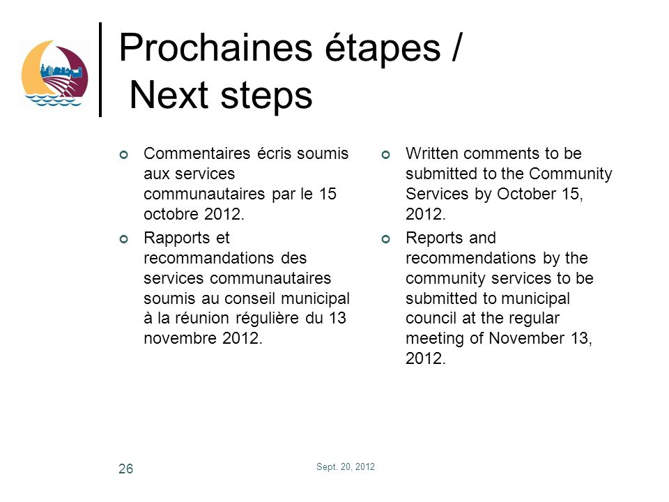 Prochaines étapes / Next steps