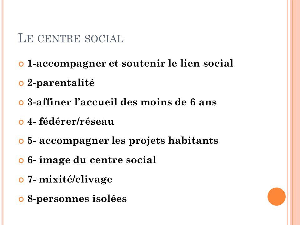 Le centre social 1-accompagner et soutenir le lien social