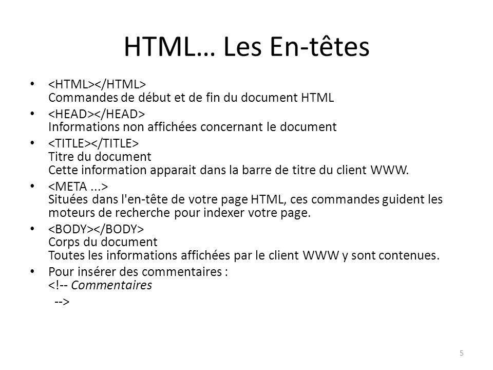 HTML… Les En-têtes <HTML></HTML> Commandes de début et de fin du document HTML. <HEAD></HEAD> Informations non affichées concernant le document.