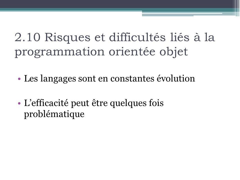 2.10 Risques et difficultés liés à la programmation orientée objet