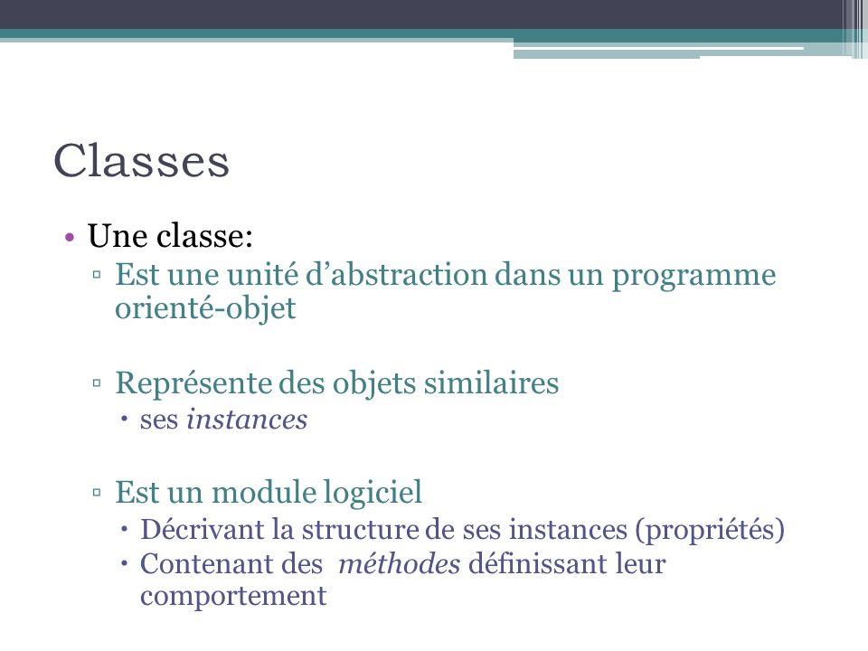 Classes Une classe: Est une unité d'abstraction dans un programme orienté-objet. Représente des objets similaires.